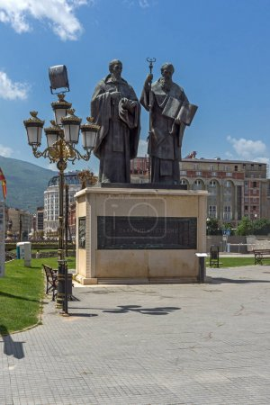 SKOPJE, REPUBLIC OF MACEDONIA - 13 MAY 2017: Saints Cyril and Methodius Monument and Filip II square in Skopje