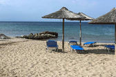 Panoramic view of Blue Dolphin Beach at Sithonia peninsula, Chalkidiki, Central Macedonia