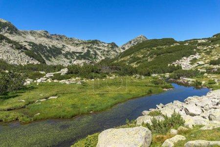Amazing landscape of Mountain river and Muratov peak, Pirin Mountain
