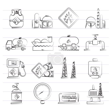 Natural gas fuel and energy industry icons