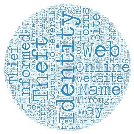 Illustration pour Concept de wordcloud Online identity theft texte fond - image libre de droit