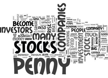 Illustration pour SONT DES STOCKS PENNY POUR VOUS TEXTE MOT CLOUD CONCEPT - image libre de droit
