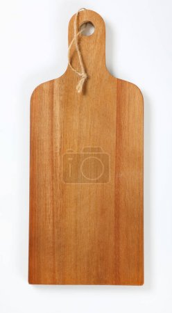 Photo for Wooden cutting board with handle and string on white background - Royalty Free Image
