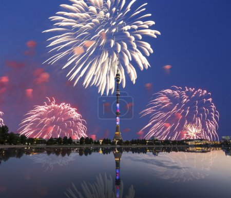 Television (Ostankino) tower at Night and holiday fireworks, Moscow, Russia