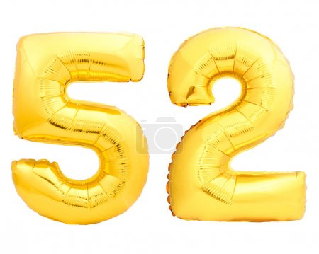 Golden number 52 of inflatable balloon