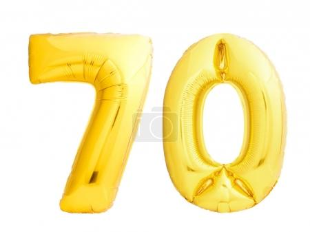 Golden number 70 of inflatable balloons