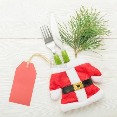 Christmas decorated cutlery