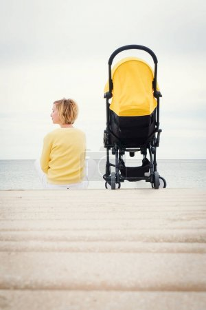 Mother on a walk with stroller