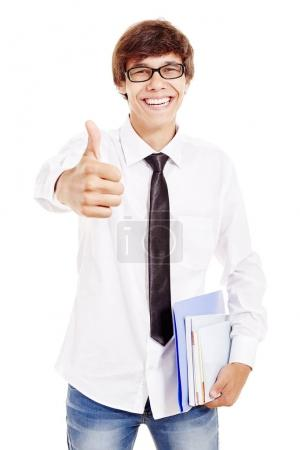 Smiling student with thumb up
