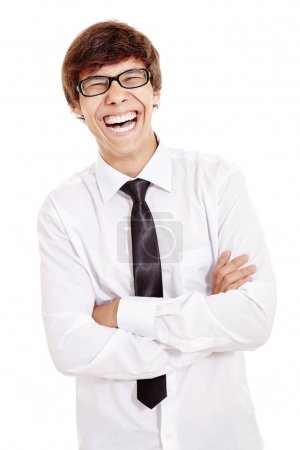 Laughing man with crossed arms