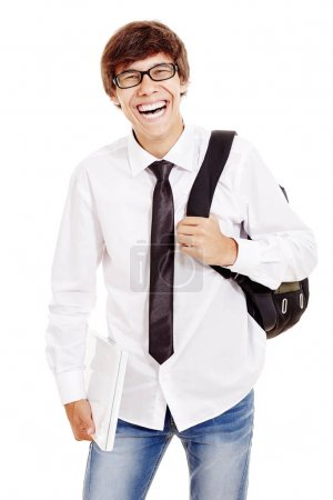 Laughing student with laptop