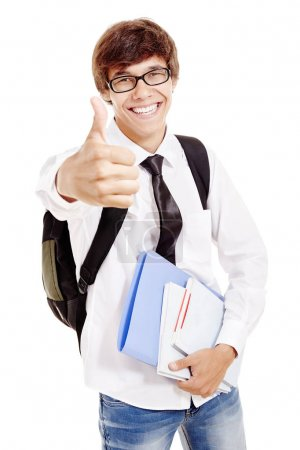 Student with books and thumb up