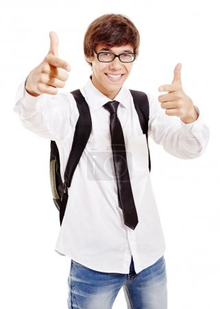 Smiling pointing student