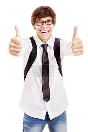 Smiling student with thumbs up