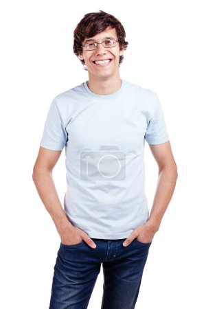 Smiling guy with hands in pockets