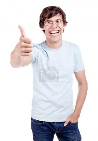 Guy showing thumb up sign