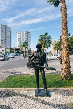 Sculptures of rock stars on