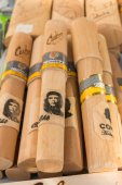 Pure cigars cohibas, with the portrait of Che Guevara, in a stre