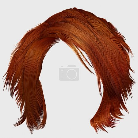 Illustration for Trendy woman disheveled hairs red  colors .  beauty fashion .  realistic 3d - Royalty Free Image