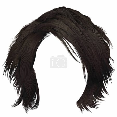 Illustration for Trendy  woman disheveled hairs kare with fringe  . dark  brown brunette  color . medium length . beauty style . realistic  3d . - Royalty Free Image