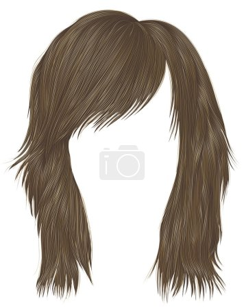 Illustration for Trendy woman disheveled hairs blond  colors .  beauty fashion .  realistic 3d - Royalty Free Image