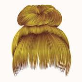 Bun  hairs with fringe bright yello
