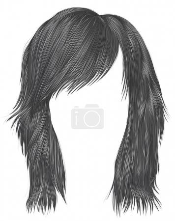 Illustration for Trendy  woman  hairs  gray   color . beauty fashion style . - Royalty Free Image
