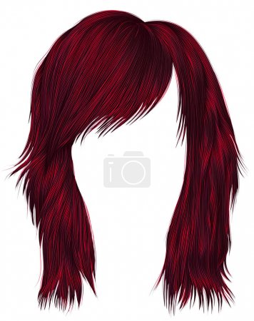 Illustration for Trendy  woman  hairs Red color . beauty fashion style . - Royalty Free Image