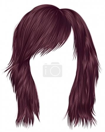 Illustration for Trendy  woman  hairs copper pink color . beauty fashion style . - Royalty Free Image
