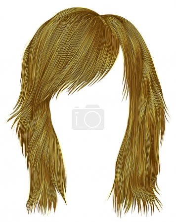 Illustration for Trendy  woman  hairs bright yellow color . beauty fashion style . - Royalty Free Image