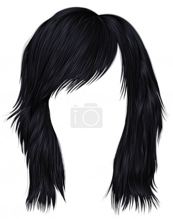 Illustration for Trendy  woman  hairs brunette black  color . beauty fashion style . - Royalty Free Image