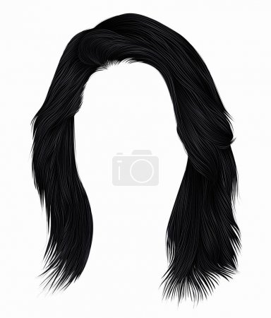 Illustration for Trendy  woman  hairs brunette black  color . - Royalty Free Image