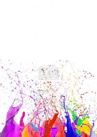 Photo for Colorful liquid paint splashes different colors on white background - Royalty Free Image