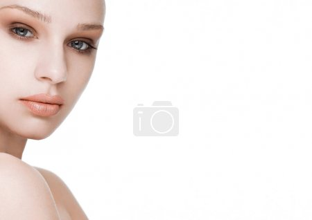 Photo for Beauty fashion model with natural makeup skin care and spa treatment with space for text - Royalty Free Image