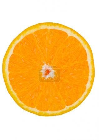 Photo pour Rond frais saine organique tranche d'orange isolé sur fond blanc - image libre de droit