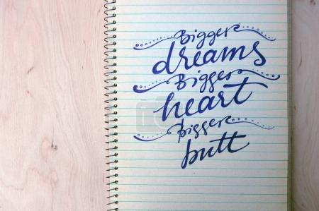 calligraphic background with funny quote