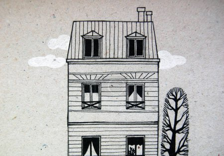 Illustrated city with cute building and trees in black and white