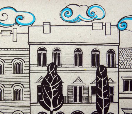 Illustrated city with cute buildings and trees in black and white