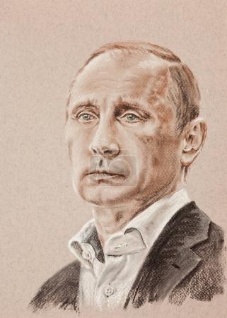 Photo pour Poutine Vladimir Vladimirovich portrait artistique faite par sépia fusain et craie sur papier texturé tonique - image libre de droit