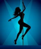 Pole dancer girl sensual silhouette for your design