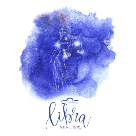 Illustration for Astrology sign Libra on blue watercolor background with modern lettering. Zodiac constellation with  shiny star shapes. Part of zodiacal system and ancient calendar. Hand drawn horoscope illustratio - Royalty Free Image