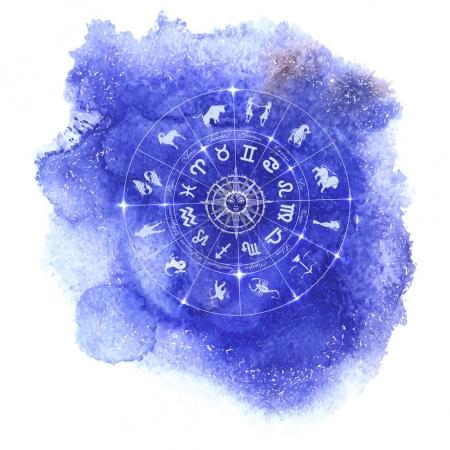 Illustration for Circle with signs of zodiac and constellations on blue watercolor background. Zodiacal system and ancient calendar. Hand drawn horoscope illustration. Part of big collection.Vector illustration - Royalty Free Image