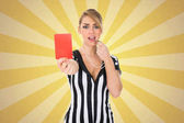 Female Referee Holding Red Card
