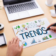 Closeup Of Businessperson Drawing Trends Chart On ...
