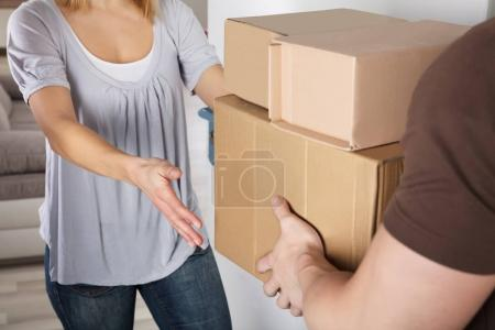Woman Accepting Parcel Box