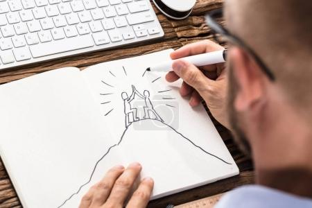 Businessman Drawing Figures