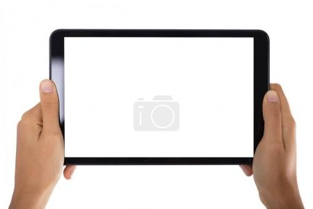 Close-up Of A Person's Hand Holding Digital Tablet With Blank Screen On White Background