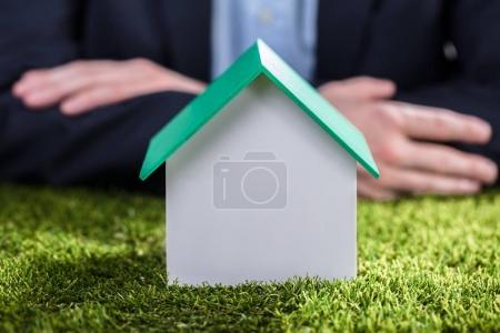Close-up Of A House Model On Green Grass In Front Of Businessperson's Hand