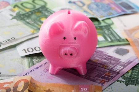Close-up Of Pink Piggy Bank On Euro Banknotes