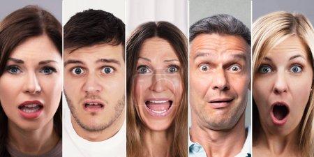 Photo pour Collage de gens choqués. Divers groupes de personnes Portraits - image libre de droit